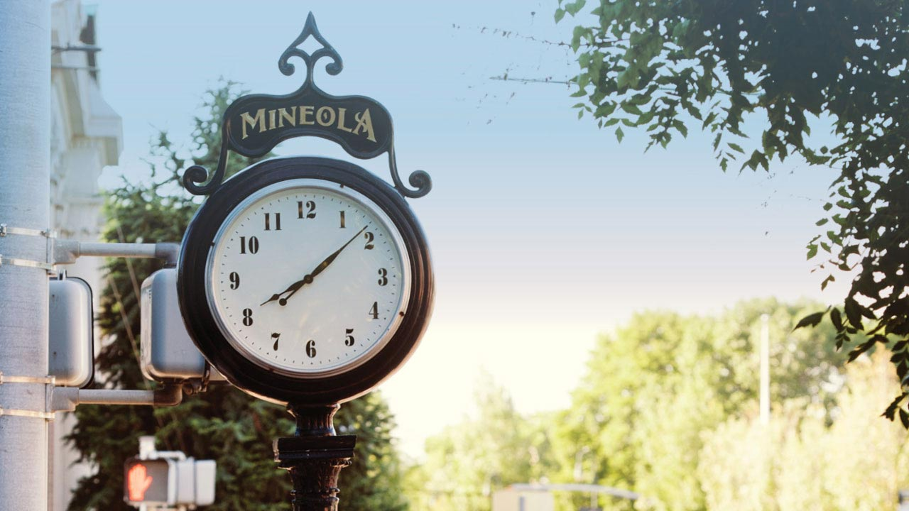 Mineola, NY Clock Sign