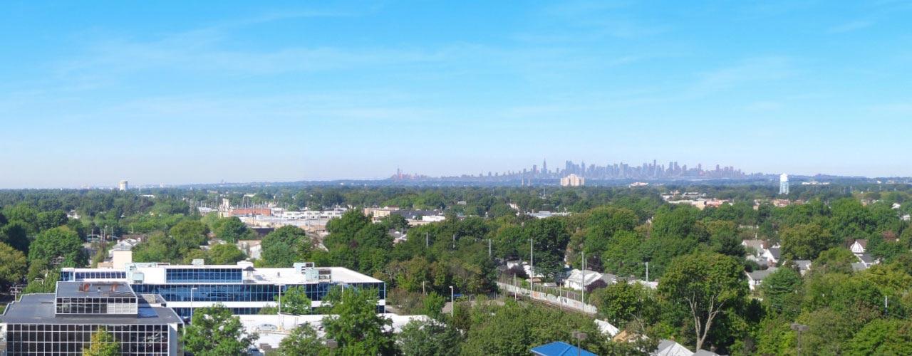 View of Manhattan skyline from Long Island